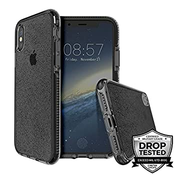 Prodigee [Superstar for Apple iPhone Xr 6.1  2018 Clear Smoke Case Transparent 2 Meter Military Certified Drop Shock Test Cell Phone Case Cover Super Thin Slim & Protective Sparkle Glitter Flakes
