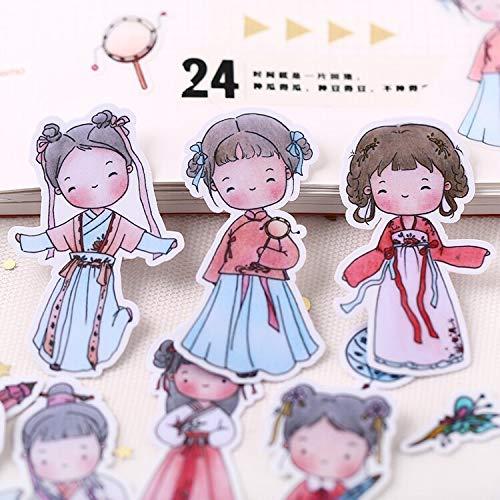 YRBB 12st schattige oude stijl tiener sticker anime figuur decoratie mooi doorschijnend mooie hand account decoratie gereedschap
