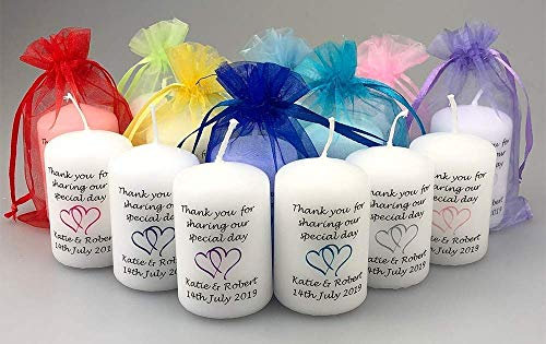 10 x Personalised Wedding Favour Candles with Entwined Hearts with a choice of colour and organza bag by Just Candles