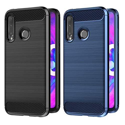 VGUARD [2 Unidades] Funda para Honor 20 Lite/Honor 10 Lite/Honor 20e / Huawei P Smart Plus 2019 / P Smart 2019, Fibra de Carbono Carcasa Silicona Suave TPU Gel Bumper Caso Case (Negro+Azul)