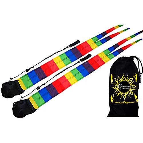 Rainbow De Couleur Multi Poi, Paire de Bolas + + Flames N Games Sac de Voyage! Poi idéal pour Les Enfants et Les Adultes, Bolas Jonglerie.