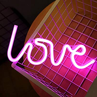 Love Neon Signs for Wall Decor,USB or Battery Decorative Neon Lights, LED Signs for Bedroom,LED Neon Light Neon Sign for Bar,Christmas,Party,Kids Room,Girls Living Room?Pink?