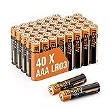IEsafy Pilas alcalinas AAA LR03 de 1,5 V, pilas desechables de larga duración, para juguetes, linternas, mando a distancia, radio, despertador y reloj (40 unidades)
