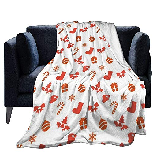 Blanket Warm Micro Fleece Throw Merry Christmas Print Blanketfor Bed Couch Chair Living Room Fall Winter