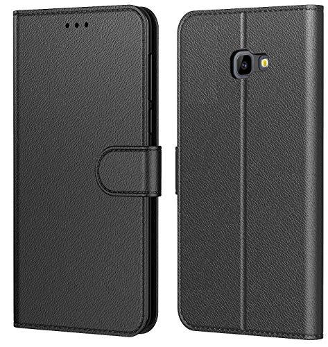 Tenphone Etui Coque pour Samsung Galaxy J4 Plus 2018, Protection Etui Housse en Cuir Portefeuille,[Livre Horizontale],[Emplacements Cartes],[Fonction Support],pour (Galaxy J4 Plus (6,0 Pouces), Noir)