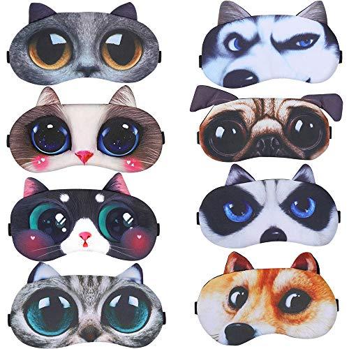 8er-Set Schlafmaske Niedliche Augenbinde, Weiche und Flauschige Schlafmaske, für Mädchen, Damen, Daydreams, Augenbinde Schlafbrille Lustig Augenabdeckung für Kinder Mädchen Damen(Süße Katze+Hund)