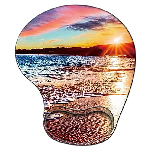 Gaming Mouse Pad with Wrist Support,Glorious Ergonomic Mousepad, Cute Computer Laptop Mouse Pads as Home Office Decor Accessories or Ideal Colorful Beach