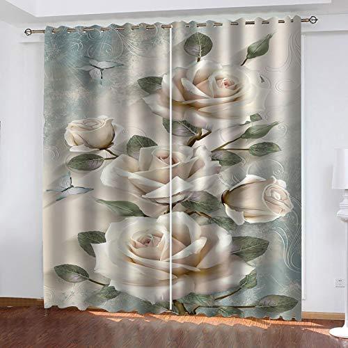 WLHRJ Cortina Opaca en Cocina el Salon dormitorios habitación Infantil 3D Impresión Digital Ojales Cortinas termica - 264x210 cm - Estampado Mariposa Rosa