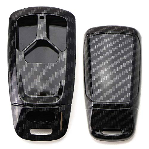 iJDMTOY Glossy Metallic Carbon Fiber Pattern Exact Fit Key Fob Shell Cover Compatible With 2017-up Audi A4 A5 Q7, 2016-up Audi TT 3-Button Smart Key