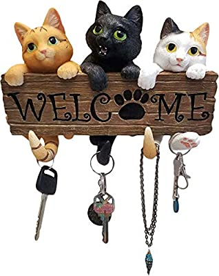 World of Wonders - Meow & Forever Series - Catchy Trio - Collectible Adorable Three Cats Welcome Sign and Key Hook with Orange Tabby Black and Calico Kitties Home Decor Accent, 8.5-inch