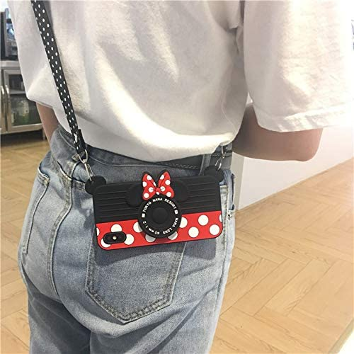 Soft Silicone Mouse Camera Case with Strap Kickstand for iPhone XR 6.1 Length Adjustable Lanyard Black Red Color Polka Dots Cute Lovely Kawaii Walt Disney Disneyland Trip Cartoon Kids Girls