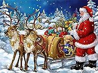 PHTDCQ PHTDCQ5dダイヤモンド絵画クリスマスディア手作りギフト番号キットDIYダイヤモンド刺繡サンタクロースモザイクラインストーンキット家の装飾大人のための芸術品と工芸品