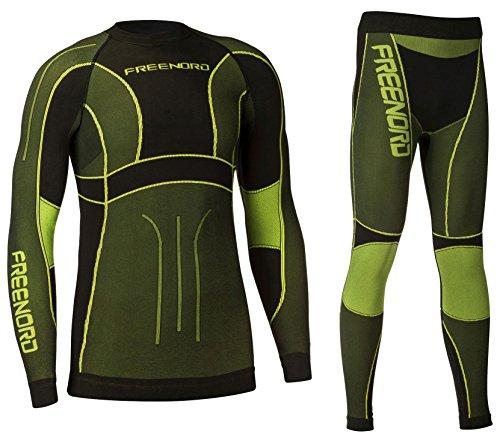Freenord Powertech męska bielizna funkcyjna, termoaktywna, oddychająca, podstawowa, zestaw outdoorowy, do biegania, kolor czarny/limonkowy, rozmiar S