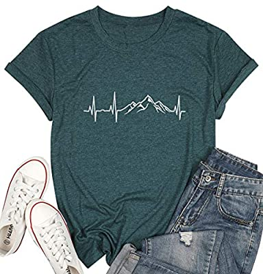 MYHALF Women Mountain Hiking T Shirt Cute Heartbeat Graphic Tee Top Outdoor Camping Casual Shirt Top for Travel Green
