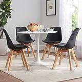 VADIM 4er Set skandinavischen schwarzen Esszimmerstühle modern nordische Serie Stühle Retro Klassiker Küchenstühle mit Kunstlederkissen Schmutzabweisend, rutschfest