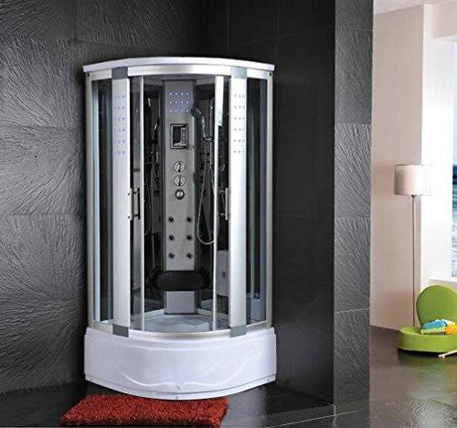 Bagno Italia Box Idromassaggio 90x90 cm cabina semicircolare con Vasca una seduta con Bagno Turco massaggio plantare luci led I