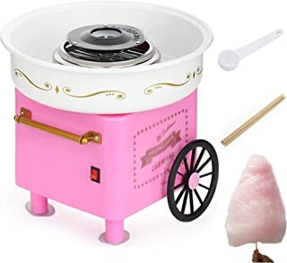Nostalgia Vintage Hard and Sugar Free Countertop Cotton Candy Maker, Includes 10 x Bamboo Sticks And Scoop,Pink Trolley Cr...