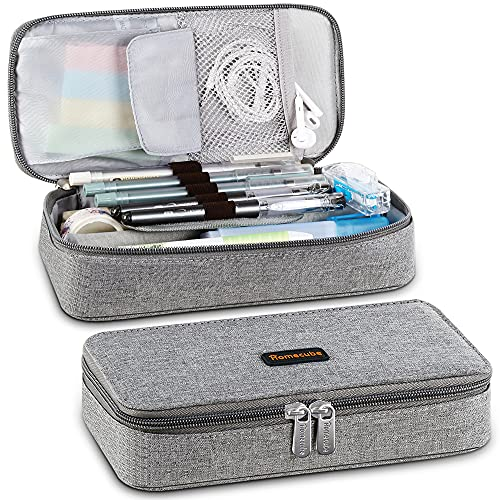 Homecube Pencil Case Big Capacity Storage Marker Pen Bag Holder Desk Organizer Pouch Stationery with Zipper for School & Office Supplies - 22 * 11 * 5.5cm, Grey