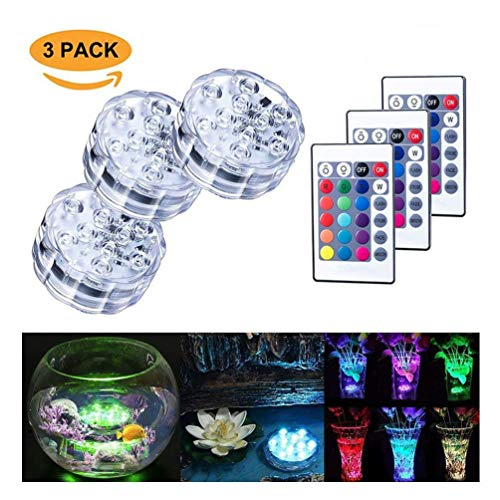LED submersible allume 10 LED RVB 16 couleurs changeantes étanches sous l'eau Lumières multi couleur batterie alimenté avec télécommande IR pour aquarium, base de vase, étang, piscine, jardin, fête