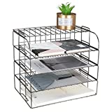 MORIGEM 4-Tier Stackable Letter Tray, Dark Gray Desk Organiser, Metal File Organiser Tray, Paper Holder Rack, Desk Accessories for School Home Office Supplies