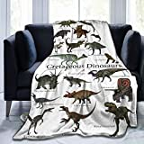 Cute Cartoon Dinosaur Blanket Ultra Soft Flannel Fleece Bed Blanket Dinosaur Throw Blanket 50'X40' All Season Warm Fuzzy Light Weight Cozy Plush Blankets For Kids Adults Sofa Couch Living Room Bedroom