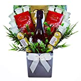 The Ferrero Rocher & Lindt Lindor Chocolate Bouquet with Silk Roses & Vino Spumante Prosecco