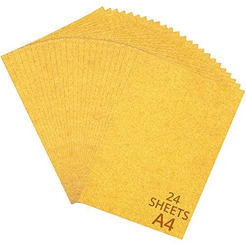 BELLE VOUS Glitzer Karton Papier (24er-Pack) - A4 Verliert Keine Glitzer 250 GSM Glitzerpapier Einseitige Goldfarbene Glitzerpappe Einladungskarten, Glitterkarton für Party-Dekoration