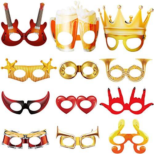 Blulu 14 Stücke Karneval Masken Lustige Gesicht Maske Karneval Parade Karneval Venedig Maske Lustige Gesichtsmasken Maskerade Kostüm Neuheit Masken Fantasie für Jungen Mädchen Kostüm Party
