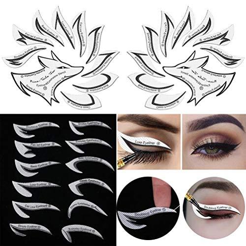 Osuner Eyeliner Stencil Sticker Quick Eye Kit de Plantillas de delineador de Ojos no Tejido Reutilizable 24 Piezas