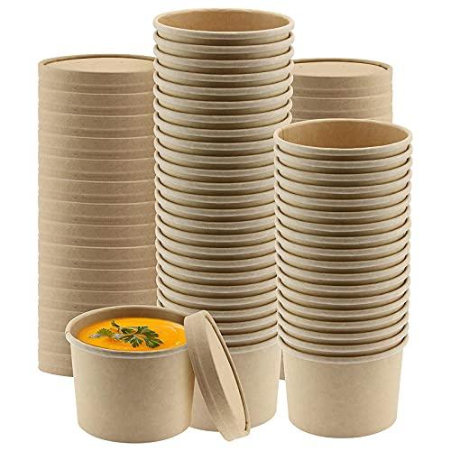 MHGLOVES Tazones Desechables, Vasos Orgánicos Desechable Biodegradable, Kraft Vasos De Papel De La Sopa con Las Tapas, Tazones Biodegradables Envases De Cartón Kraft, 100 Piezas