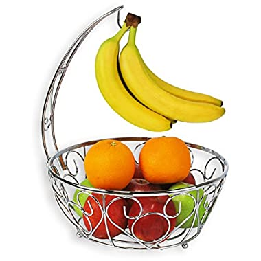 SimpleHouseware Fruit Basket Bowl with Banana Tree Hanger, Chrome Finish