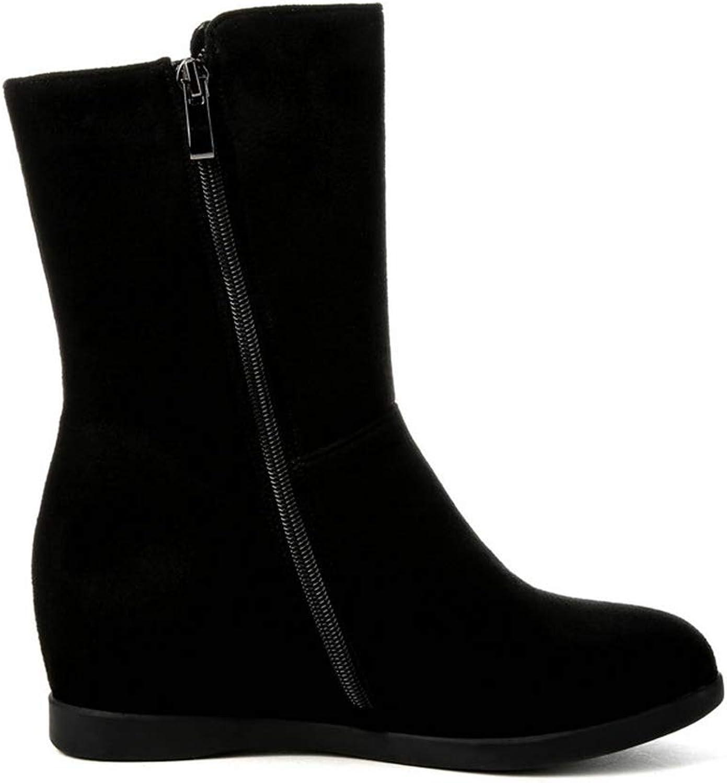 Kvinnor Winter Ankle Boot Boot Boot Wedge Dold Heel Round Toe Decoration svart mocka Kvinnliga tillfälliga skor  fri frakt och utbyte.