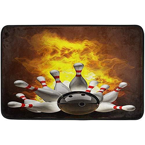jonycm Teppich Bowling Ball Crashing in die Stifte auf Feuer Kunst Fußmatten Bodenmatte Fußmatte Teppich Innen- / Außenmatten Willkommen Fußmatte 40X60cm