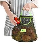 QKFON Bolsa de malla de algodón orgánico, bolsa de compras, bolsa de malla de algodón reutilizable, bolsa de malla de almacenamiento de cocina para frutas, patatas huevos