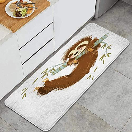 LISNIANY Alfombras para Cocina Baño de Cocina Absorbente Alfombrilla,Feliz Alegre Animal columpiándose en la Rama de un árbol Dibujado a Mano ilustración de Dibujos Animados,Baño Antideslizantes