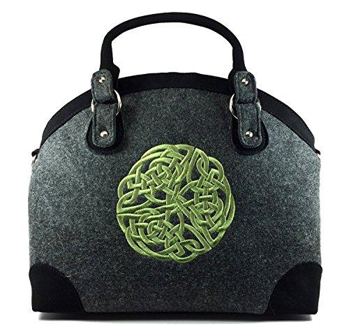 Irish Tote Handbag for Women Celtic Knot Wool & Leather Purse Made in Ireland
