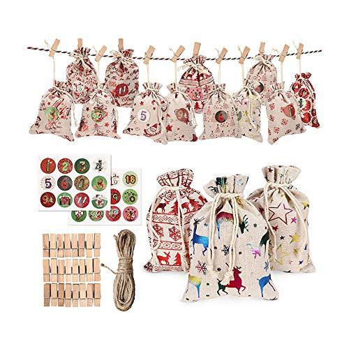 Geschenktaschen-Set, Kasachoy Weihnachtstaschen-Set, Kordelzug, Beutel, Kalendertasche, Kit, wiederverwendbare Geschenktüten für Zuhause und alle Anlässe