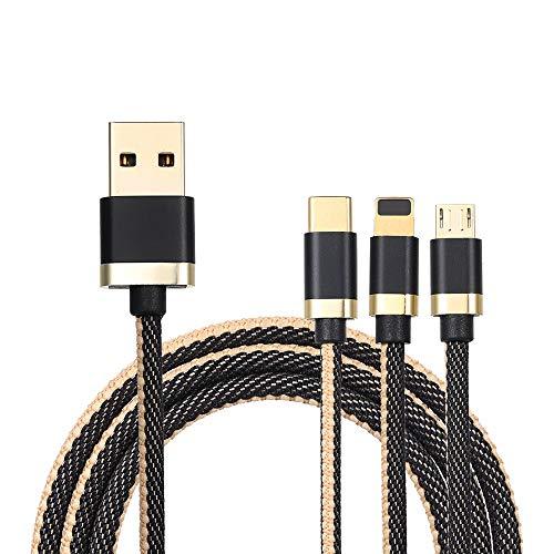 Gamogo Cable de Carga 3 en 1 con Micro USB/Type-c/Lighting para iPhone Huawei Samsung Cloth 1.2M Trenzado (Negro)
