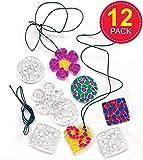 Kette mit Acryl-Anhängern Mosaik-Kristalle - Halskette - Schmuck für Kinder zum Basteln - 12 Stück