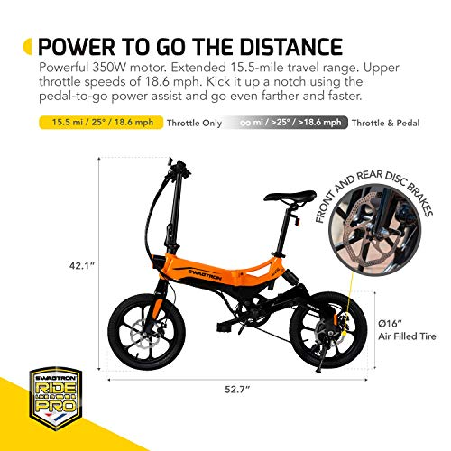 SWAGTRON EB7 Elite Plus Folding Electric Bike with Removable Battery & 7-Speed Gear Shift | Pedal-Assist eBike with Suspension & 16-Inch Tires | 350W Motor -Extended 19-Mile Range