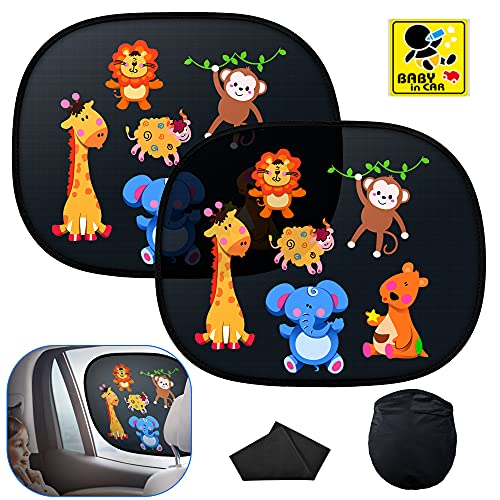 Oziral Parasol Coche Infantil Lateral, Parasol Coche Baby Anti-UV Auto Parasol Coche PVC Protección de adsorción con Bonitos Motivos de Animales