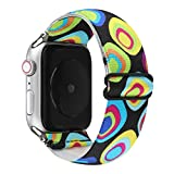 Adjustable Elastic Wristband Bracelet Stretchy Nylon Band Stylish Art Design Loop Strap Compatible with 40mm 38mm Apple Watch SE/Series 6 5 4 3 2 1, Yellow/Blue Art Pattern