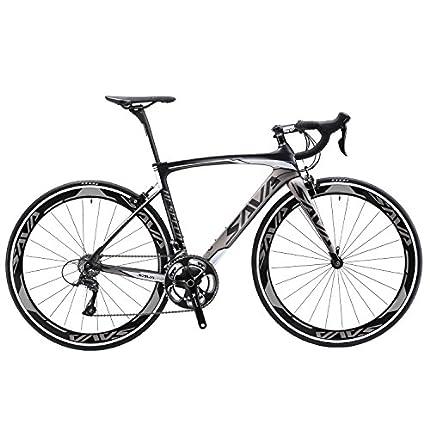 SAVADECK Bicicleta de carretera de carbono, bicicleta de carretera Warwinds3.0 700C de fibra de carbono con sistema de cambio Shimano SORA 3000 18S, neumáticos Michelin 25C y freno double V (Gris, 44)