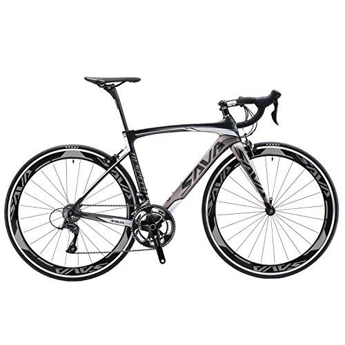 SAVADECK Bicicleta de carretera de carbono, bicicleta de carretera Warwinds3.0 700C de fibra de carbono con sistema de cambio Shimano SORA 3000 18S, neumáticos Michelin 25C y freno double V (Gris, 56)