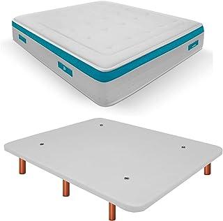 Duérmete Online Base Tapizada 3D Reforzada Anti Ruido + Colchón Viscoelástico Sanex Visco | Patas de Madera Color Cerezo, Blanco, 105x190