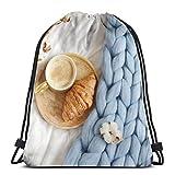 Osmykqe Bolsas con cordón Taza Capuchino Croissant Azul Pastel Gigante Camping Deportes Mochila al Aire Libre para Mujeres Hombres