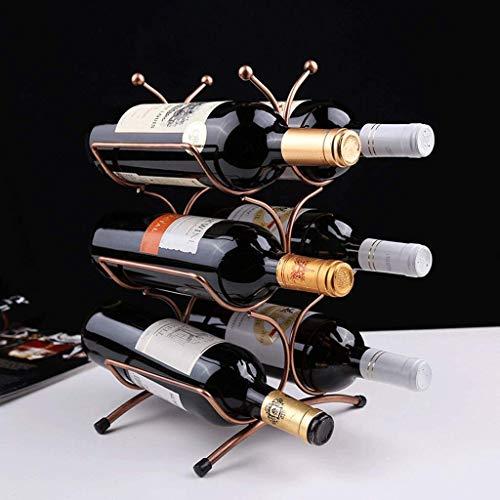 6 Flessen Wijn Rack Iron Brons Stuur Bar Wine Bottle Holder Stand-alone Wine Storage Rack 26x16x35cm rek van de wijn WKY