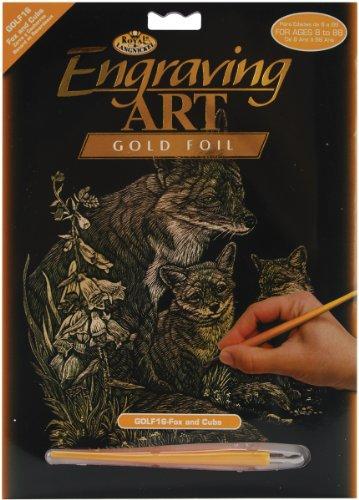 Royal & Langnickel GOLF16 - Engraving Art/Kratzbilder, DIN A4, Fuchs mit Fuchsjungen, gold