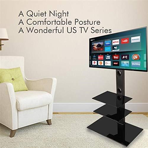 Soporte de TV de esquina con soporte giratorio para pantallas LED planas curvadas de 32 a 65 pulgadas, soporte para TV, altura ajustable, base de vidrio templado para medios