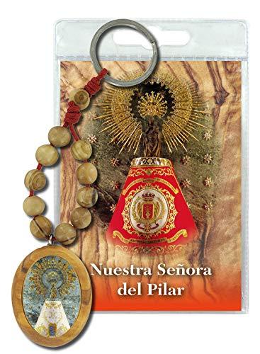 Ferrari & Arrighetti Llavero Virgen del Pilar con decenario en Madera de Olivo y oración en español